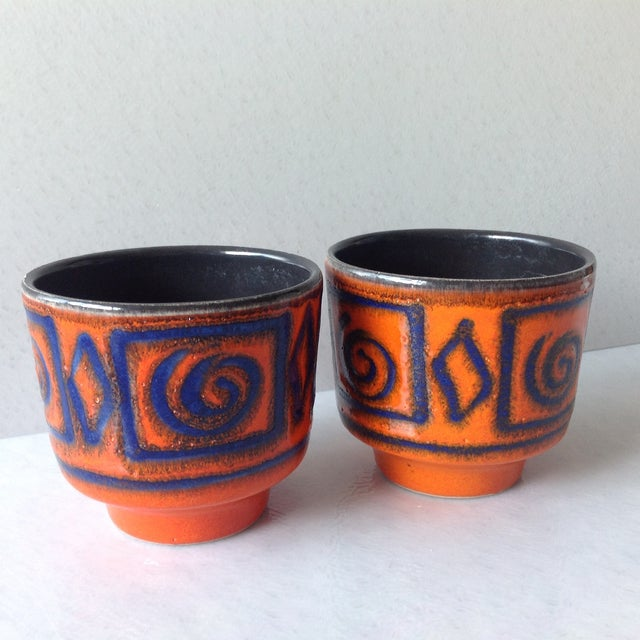 Mid-Century Orange & Blue Planters - A Pair - Image 3 of 7