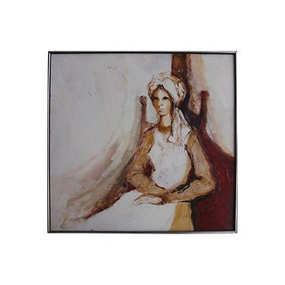 Vintage 1970s Oil Painiting of a Seated Woman