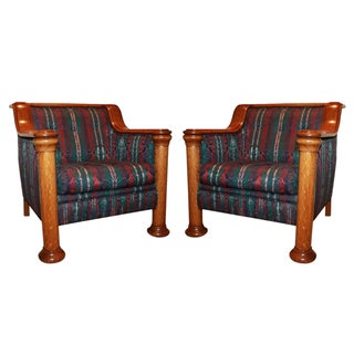 "Quarter Sawn ""Tiger Oak"" Chairs - A Pair"