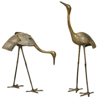 Mid-Century Tall Sculptural Brass Cranes/Heron Statues - a Pair