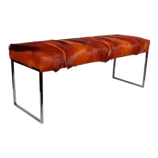 AFRICAN SPRINGBOK FUR BENCH IN VIBRANT BURNT-ORANGE