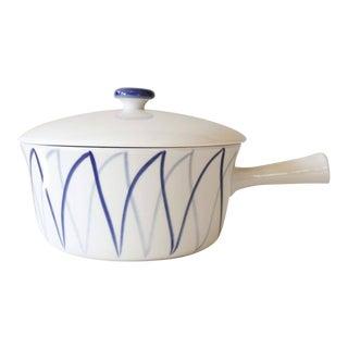 Lyngby Denmark Harlekin Ceramic Sauce Pan or Casserole Dish Blue White Danish Modern Harlequin
