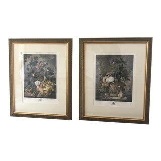 Vintage Framed Hand Colored Prints - a Pair