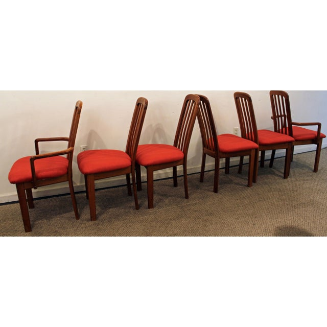 Set of 6 Mid-Century Danish Modern Ansager Mobler Spindle Teak Dining Chairs - Image 4 of 11