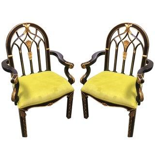 Black & Gilt Accent Chairs - A Pair