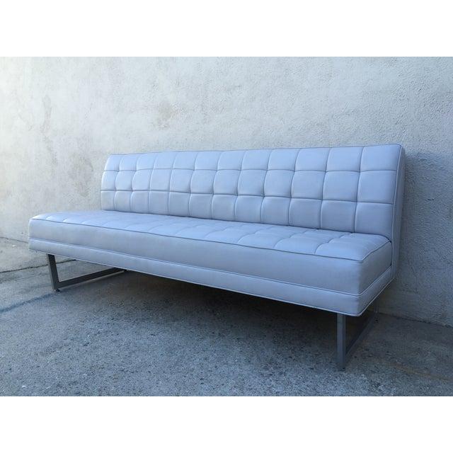 Image of Modern Vinyl Chrome Legs Sofa