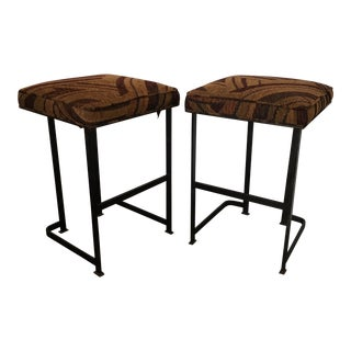 Vintage 1960's Iron & Fabric Counter Stools - Pair