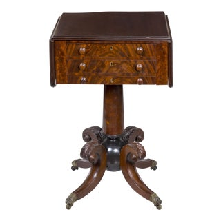 "Classical Mahogany Worktable with ""Canon Ball"" Base"