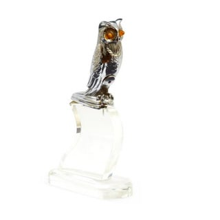 Electrified Owl Hood Ornament on Lucite Base