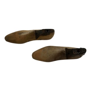 Wooden Shoe Molds on Stands - Pair