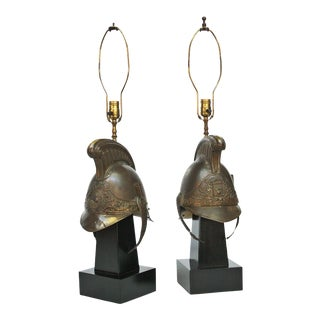 19th Century French Firefighter Helmets Mounted as Lamps