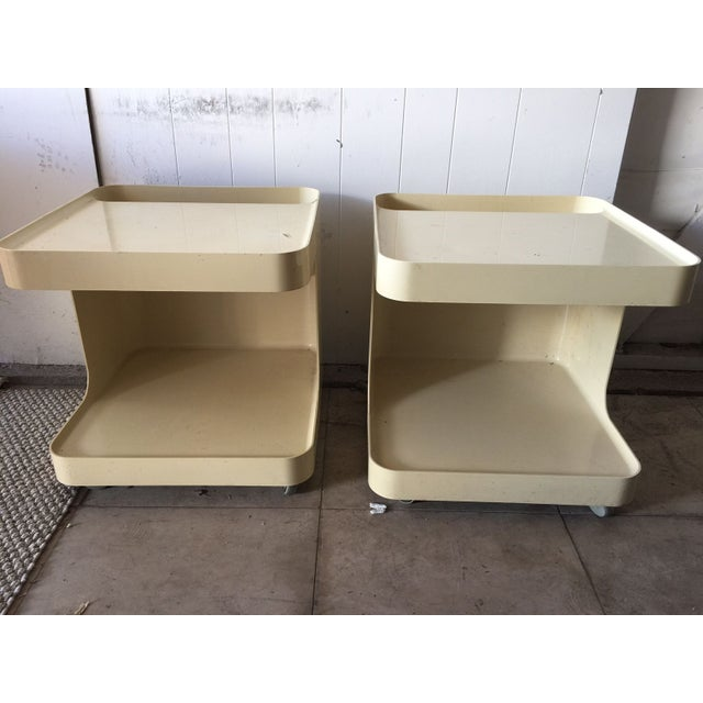 Image of Plastic C-Shaped Side Tables - A Pair