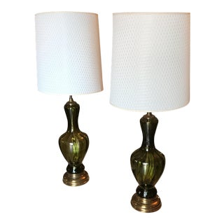 Green Blown Glass Lamps - A Pair