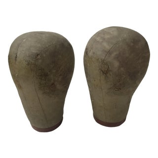 Vintage Cloth Covered Mannequin Head Forms - A Pair