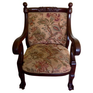 Antique Mahogany Empire Parlor Chair