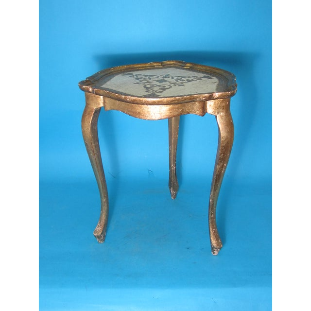 White & Gold Florentine Small Side Table - Image 2 of 6