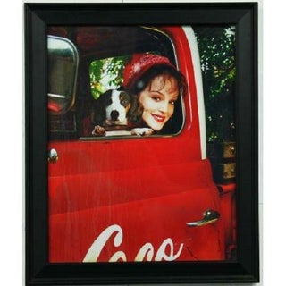Framed Coca Cola Girl & Dog Poster Print