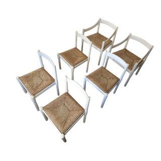 1960's Vico Magistretti White Carimate Chairs - Set of 6