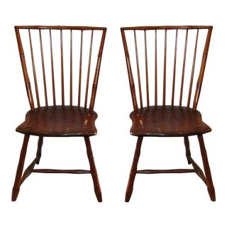 Antique Carved Faux Bamboo Oak Chairs - A Pair