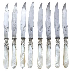 French Pearl-Handled Dinner Knives - Set of 8
