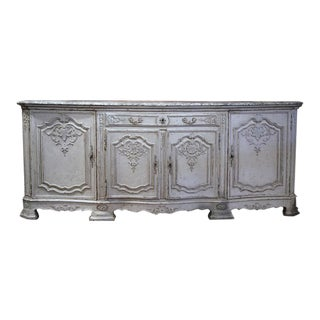 19th Century French Carved Painted Four-Door Buffet With Faux Marble Top