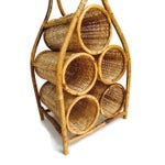 Image of Vintage Bent Wood & Cane Wine Rack Storage