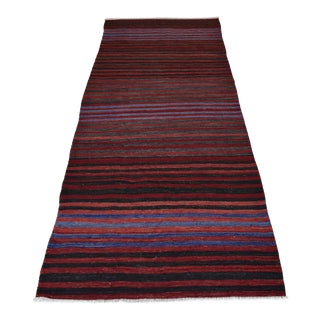 Vintage Turkish Striped Kilim Runner - 3′1″ × 8′2″