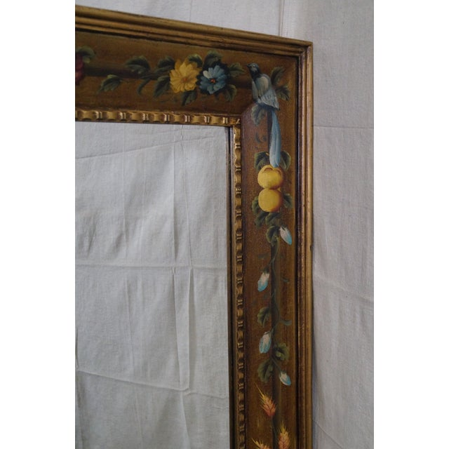 Floral Hand Painted Gilt Frame Beveled Wall Mirror - Image 10 of 10