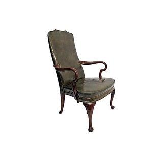 Mahogany & Green Leather Armchair
