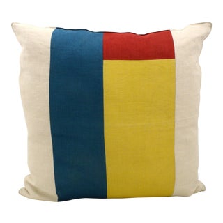 Color Blocked Linen Pillow