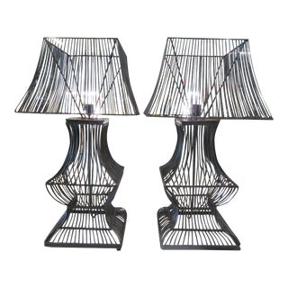 Steel Cage Lamps - A Pair