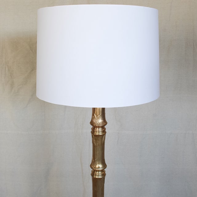 Image of Hollywood Regency Brass Faux Bamboo Floor Lamp