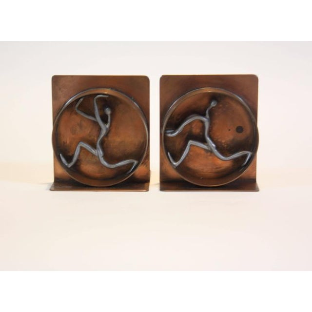 Mid-Century Modern Copper and Pewter Bookends Signed Nelson - Image 2 of 11