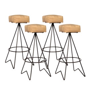 Four Mid Century Hairpin Leg Bar Stools by Norman Cherner