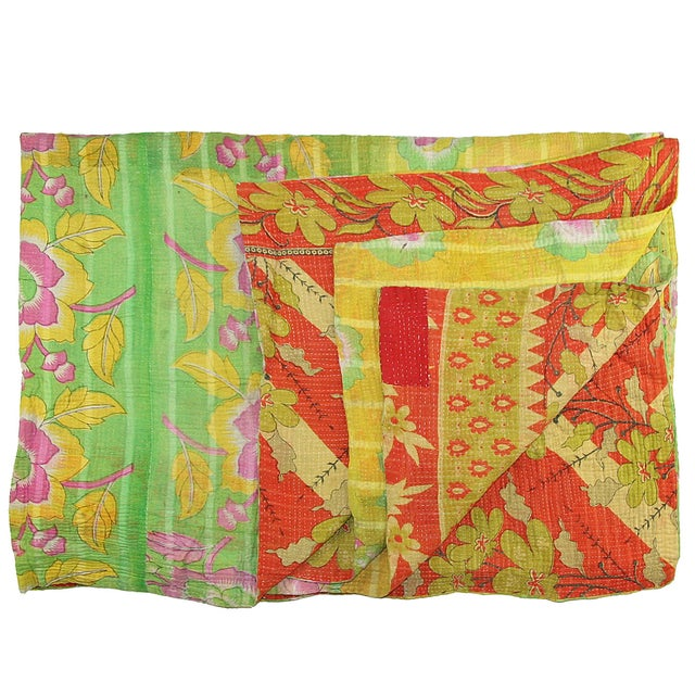 Vintage Red & Green Kantha Quilt - Image 1 of 3