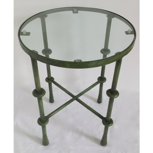 Image of Giacometti-Style Forged Round End Table
