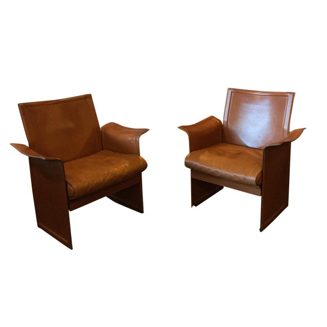 Italian leather 80 39 s club chairs a pair chairish for 80s lounge chair
