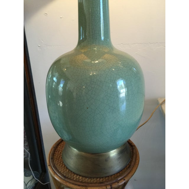 Image of Vintage Celadon Lamp with Crewel Shade