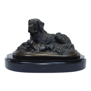 Vintage Christine Baldwin 2 Dog Bronze Statue