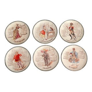 Antique French Traditional Songs Plates - Set of 6