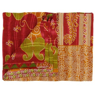 Vintage Warm Tone Kantha Quilt