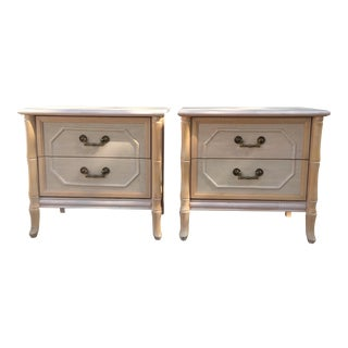 Broyhill Faux Bamboo Nightstands - A Pair