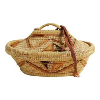 Coil Grass & Raffia Woven Lidded Basket