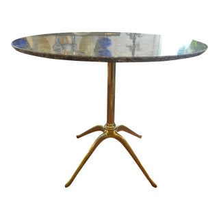 Gio Ponti Style Italian Marble Top Brass Center Table
