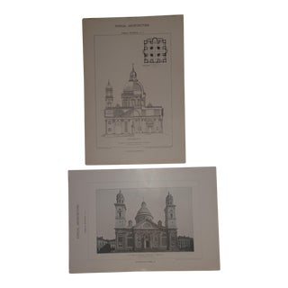 A Pair of 1902 Vintage Architectural Images of Santa Maria DI Carignano, Italy