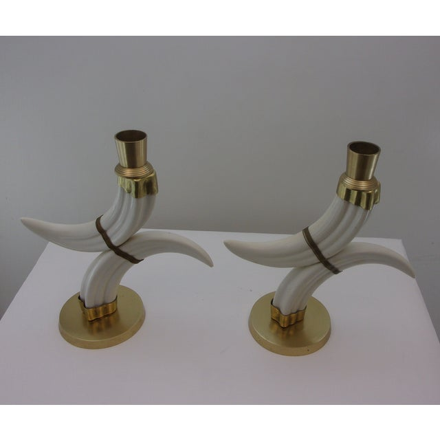 Image of Vintage Tusk Candle Holders - Pair