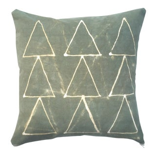 Hand Dyed Green Triangle Pattern Pillow Cover
