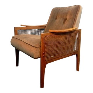 Mid Century Modern Cane Sided Mohair Club Chair
