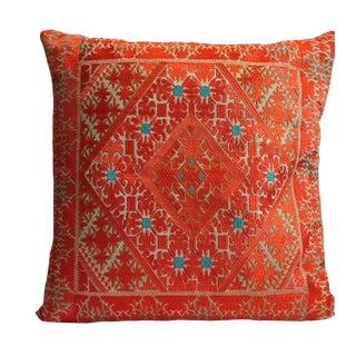 Swati Orange Embroidered Pillow