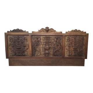 19th Century Italian Carved Panel or Headboard